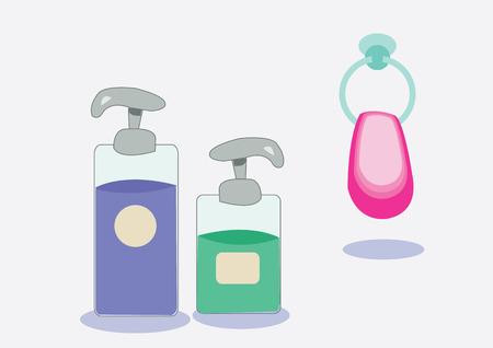 liquid soap: liquid soap, shampoo and towel. vector illustration Illustration