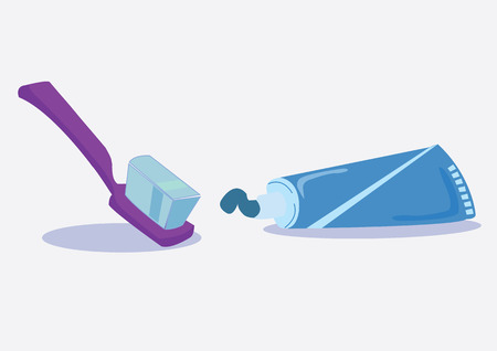tartar: squeezing toothpaste and toothbrush. vector illustration