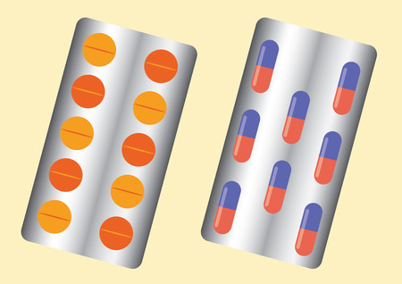 packed: Pills and Tablets packed in blisters. Vector Illustration