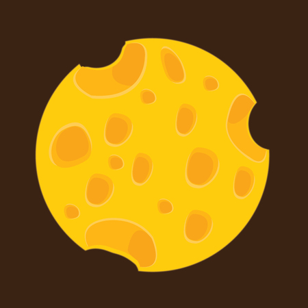 Cheese Food with Holes. Vector Illustration