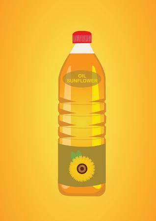 L'huile de tournesol dans la bouteille. Illustration Vecteur Vecteurs