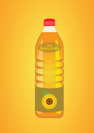 Sunflower oil in the Bottle. Vector Illustration