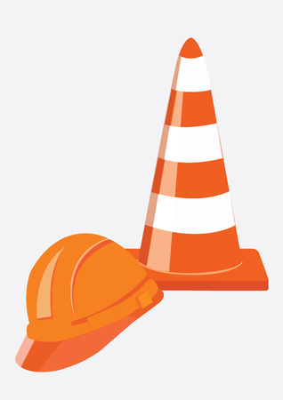 Orange road cones and Helmet for builder worker. Vector Illustration
