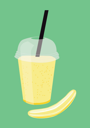 Banana smoothie. Vector Illustration