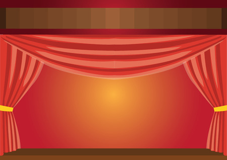 Theater red curtains. Vector Illustration