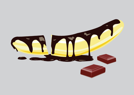 Banana with chocolate sauce. Vector illustration