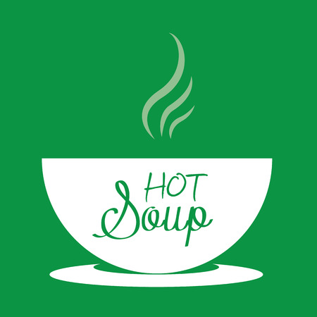 Hot soup in a bowl. Vector Illustration