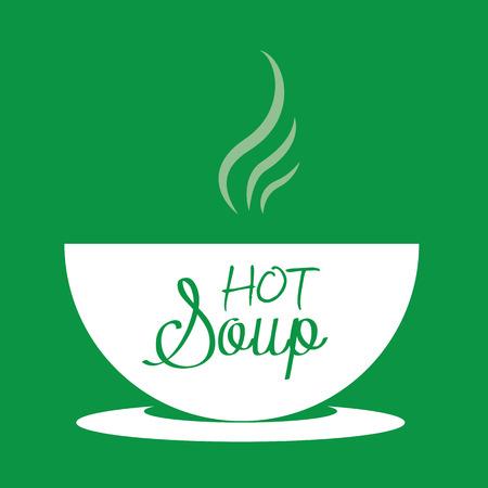 Sopa caliente en un tazón. Ilustración vectorial