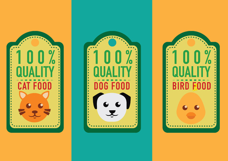 set of healthy pet food labels and stickers. vector illustration