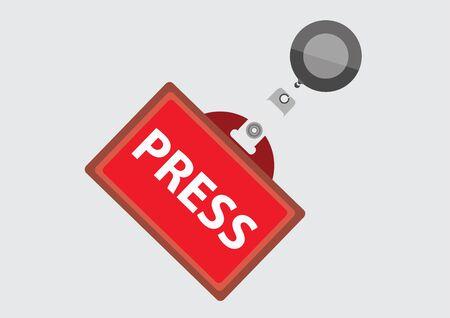 Press Pass ID Card, Vector Illustration