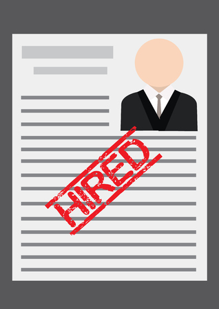 Hired Stamp on Employee CV. Vector Illustration Vector