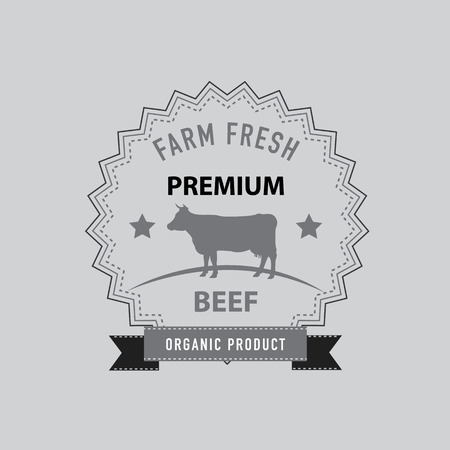Premium Beef Icon, Sticker, Label, Tag. Vector Illustration