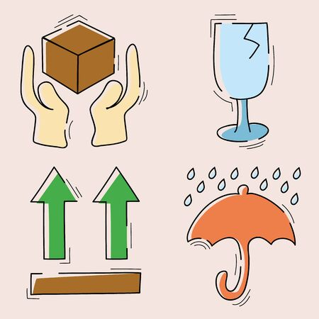 fragile symbols for packaging. vector illustration Illustration