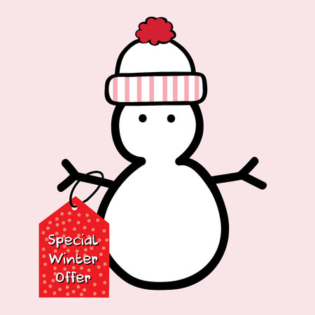 penguin holding a winter sale icon. vector illustration Illustration