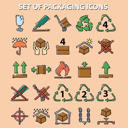 reciclable: conjunto de iconos de embalaje (este lado hacia arriba, manejar con cuidado, frágil, mantener seco, mantener alejado de la luz solar directa, inflamable, código de barras, reciclable)