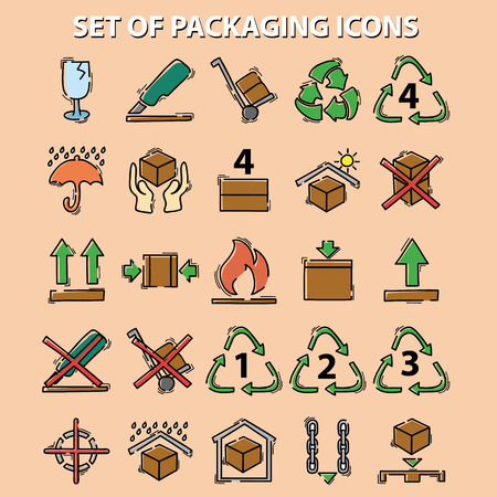 set of packaging icons (this side up, handle with care, fragile, keep dry, keep away from direct sunlight, flammable, bar code, recyclable)