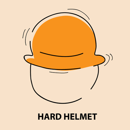 hard construction helmet for health and safety warning, mandatory signs (vector illustration} Illustration