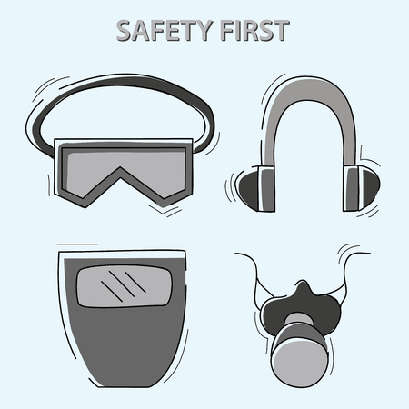 health and safety warning, mandatory signs (eye protector, respirator, ear protector). vector illustration