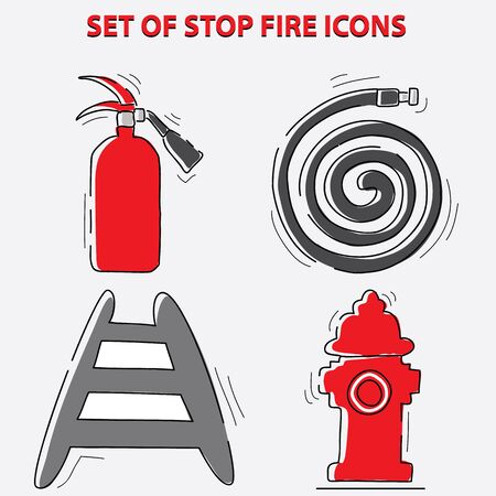 set of stop fire symbols (be aware, be ready, be prepare, save lives, fire safety, prevent fire, campaign) flat vector illustration Illustration