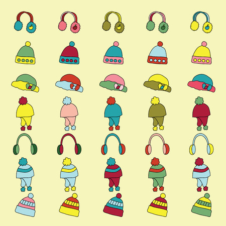 set of knitted winter hat and cap icon. wool winter hat and cap. vector illustration Illustration