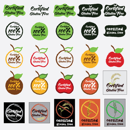 set of certified gluten free icon. vector illustration