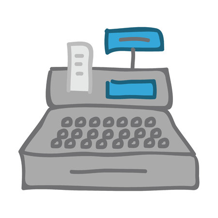 flat cash register icon. vector illustration