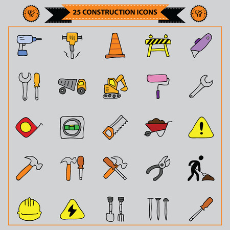 twenty five construction icons set, vector illustration