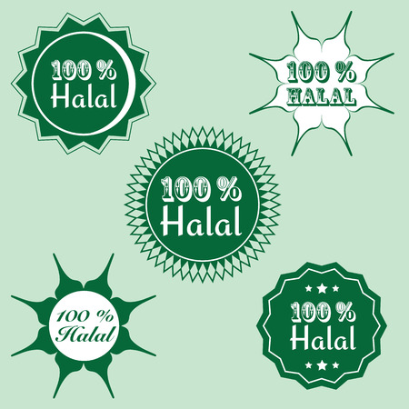 permissible: set of 100% halal (permissible)  hundred percent icon. vector illustration