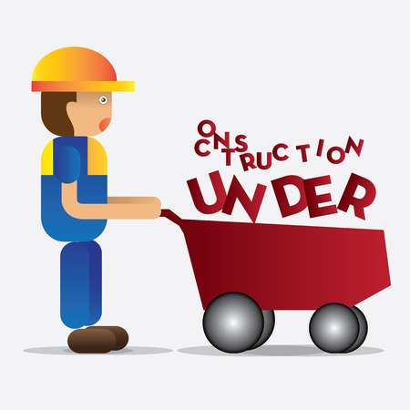 man holding trolley car with under construction fonts, vector illustration