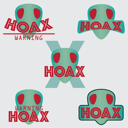 Set of hoax text with green mask design. vector illustration