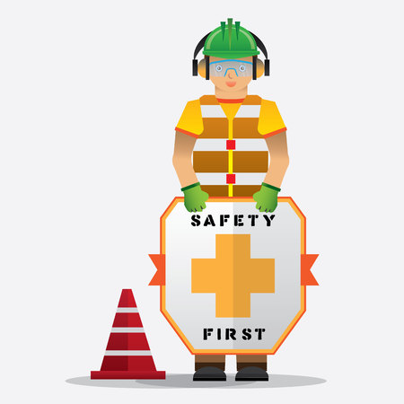 construction worker standing with safety first sign, health and safety warning signs, vector illustrator
