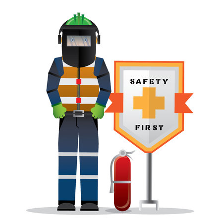 Construcción, trabajador, posición, seguridad, primer, señal, salud, seguridad, advertencia ...