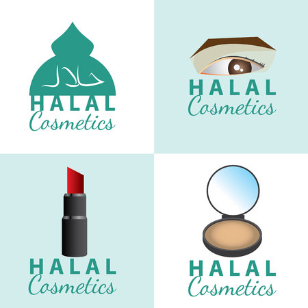 set of certificate of halal (permissible) cosmetics icon. vector illustration