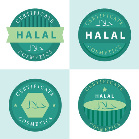 permissible: set of certificate of halal (permissible) cosmetics icon. vector illustration