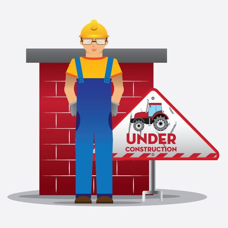 vector sign under construction: man worker with blue jumpsuit and yellow helmet in front of concrete with  under construction triangle sign, vector illustration