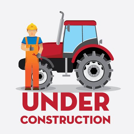 under construction sign with man: man worker with yellow jumpsuit and yellow helmet in front of truck with  under construction  sign, vector illustration Illustration