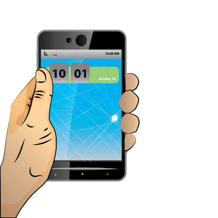 bruised: hands holding broken lcd screen of smart phone and digital tablet. flat vector illustration Illustration
