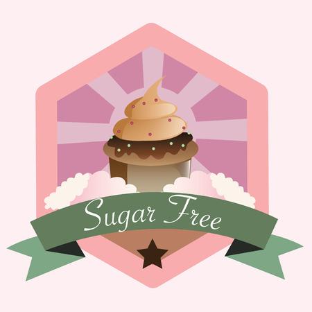 sugar free no sugar add. flat vector illustration