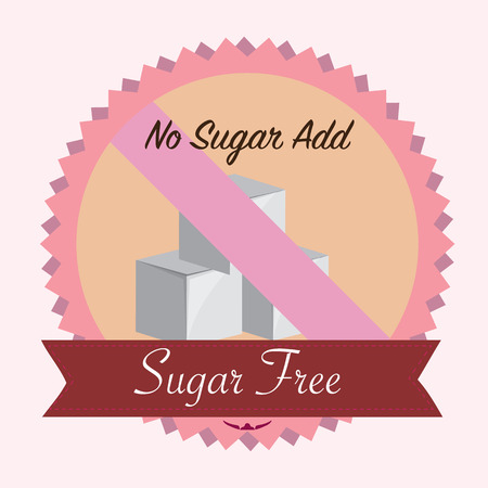 sugar free no sugar add. flat vector illustration