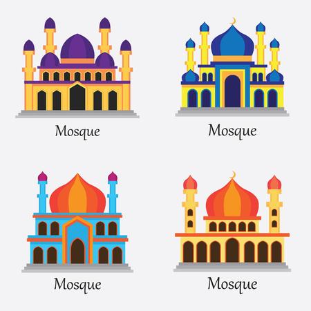 muhammed: Set of Islamic Mosque  Masjid for Muslim pray icon vector illustration Illustration