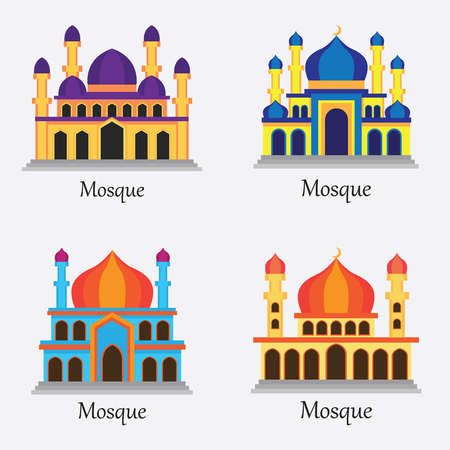 Set of Islamic Mosque  Masjid for Muslim pray icon vector illustration Illustration