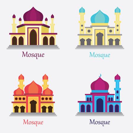 muhammed: Illustration set of Islamic Mosque  Masjid for Muslim pray icon. vector Illustration