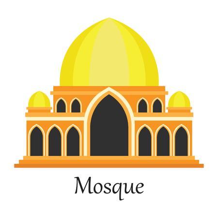 Yellow Islamic Mosque  Masjid for Muslim pray icon vector illustration.