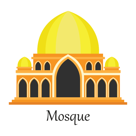 Yellow Islamic Mosque  Masjid for Muslim pray icon vector illustration.