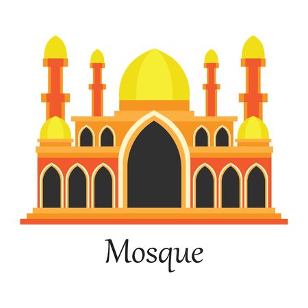 Orange Islamic Mosque  Masjid for Muslim pray icon vector illustration. Illustration
