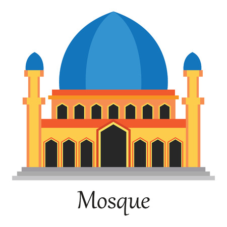 Beautiful Islamic Mosque  Masjid for Muslim pray icon vector illustration.