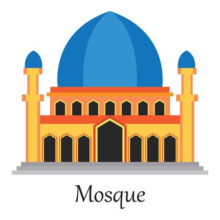 Beautiful Islamic Mosque  Masjid for Muslim pray icon vector illustration.