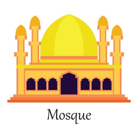Yellow and orange Islamic Mosque  Masjid for Muslim pray icon vector illustration.