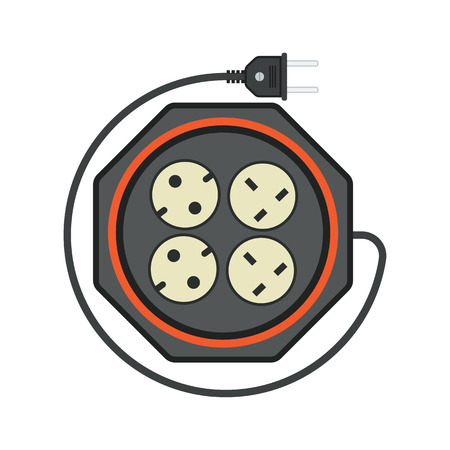amp: rounded extension cord  lead icon. flat vector illustration