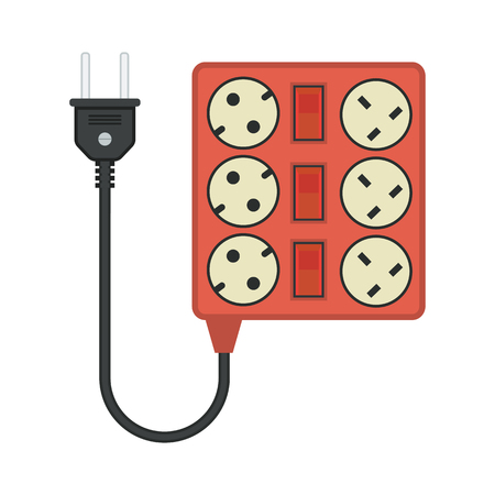 amp: square extension cord  lead icon. flat vector illustration